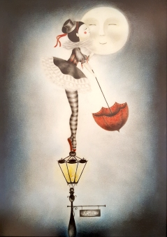Niña besando la luna